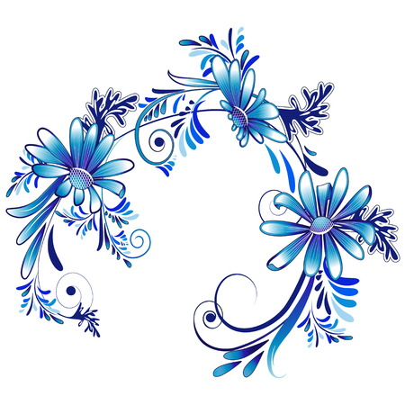 marguerite: Decorative daisies in white and blue color on a white background