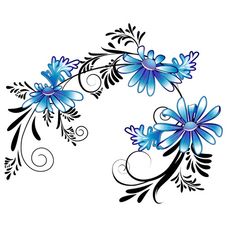 marguerite: Decorative daisies in white and blue colour with black ornaments on a white background Illustration