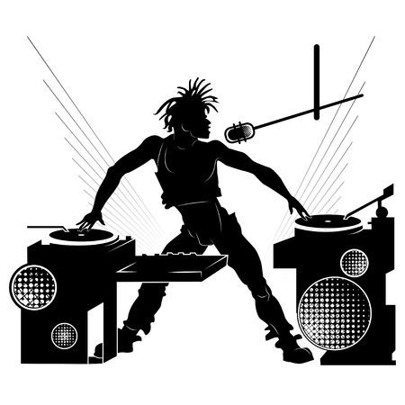 gente bailando: Negro silueta de un DJ en una fiesta en el fondo blanco