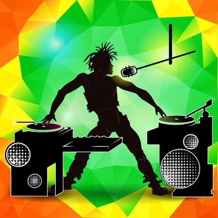 gente che balla: Silhouette di un DJ a una festa su uno sfondo colorato