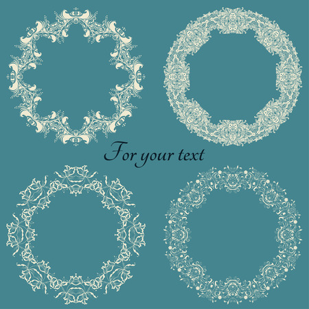 A set of delicate round frames in light colors for text on a blue background
