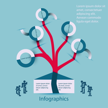 genealogy tree: Infographics family-family tree,organization chart concept on a blue background Illustration
