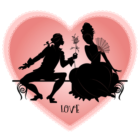 young girl nude: Vintage silhouettes of lovers on a bench on the background of the silhouette of a heart