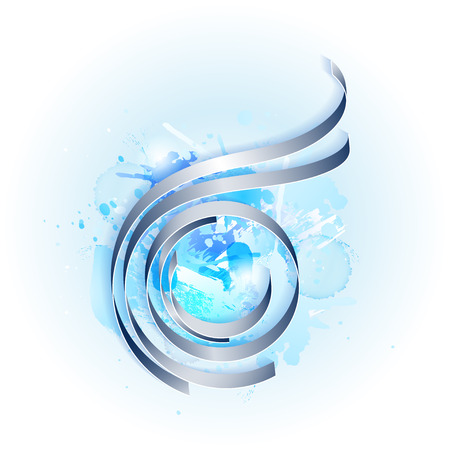 blue water: Abstract composition of the lines in the circle on the background of different stains in blue tone Illustration