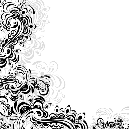 Floral abstract pattern in black and white on a white background