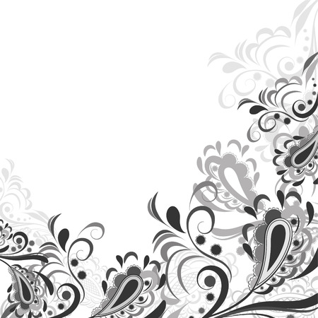 brocade: Floral abstract pattern in shades of gray on a white background Illustration