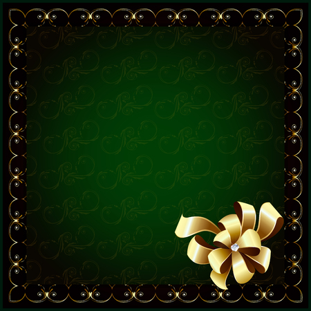 gemstone background: Dark green background in the gold frame and bow with gemstone Illustration