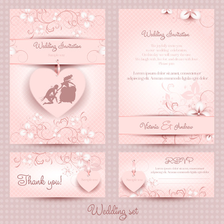 the spouse: Wedding set, the template in a romantic style with pink colours with floral pattern and decorative elements in the form of hearts, silhouettes of lovers on a background color of coffee with milk