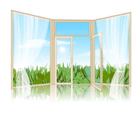 spring landscape: Spring landscape with grass, a sky with clouds on the background of an open window. On the window with white tulle. Vector illustration
