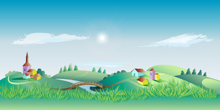 rural landscape: Spring landscape with the environment and grass in the foreground. Vector illustration Illustration