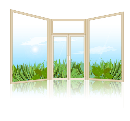 grass sky: Spring landscape with grass, sky with clouds in the background with the window closed. Vector illustration Illustration