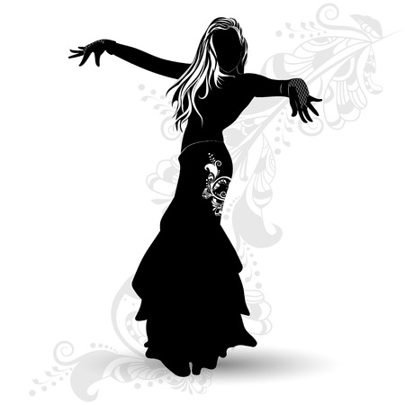 Silhouette belly dancer on the background of Oriental pattern on a white background Illustration