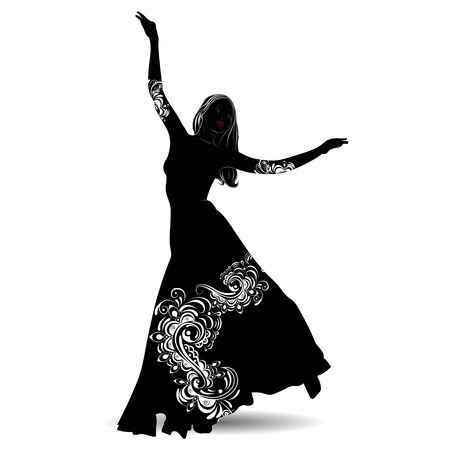 Silhouette belly dancer with designs on the outfit on white background Stock Illustratie