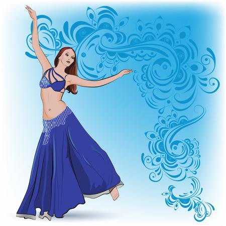 La danza del vientre en traje azul en el fondo adornos orientales en tonos azules. Ilustración de vector