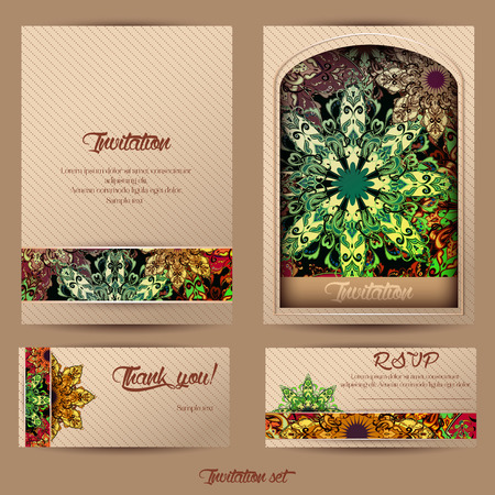Vintage cards with Floral mandala pattern and ornaments.  oriental design Layout template, size A4. Islam, Arabic, Indian, ottoman motifs. Easy to use and edit. Illustration
