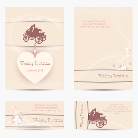 beige background: Set of Wedding Invitations on a beige background with silhouettes of lovers in chariot