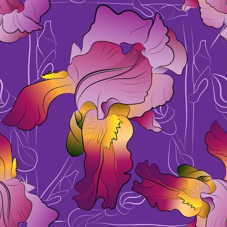 purple irises: Seamless pattern of purple irises on a purple background and stems from light lines
