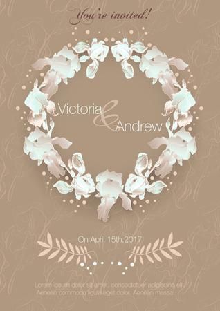 Tarjeta con flores de iris, se puede utilizar como invitaciones para la boda, cumpleaños y otras celebraciones en un fondo caliente.