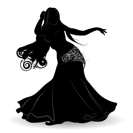 Silhouette of belly dancer in motion with the patterns on the clothes on a white background Çizim