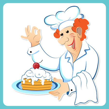 whites: Chef with a cake on a tray on white background
