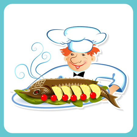 sturgeon: Chef takes sturgeon, served with vegetables on a tray on a white background