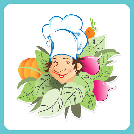 beets: Chef surrounded by lettuce, beets, carrots and pumpkin on white background Illustration