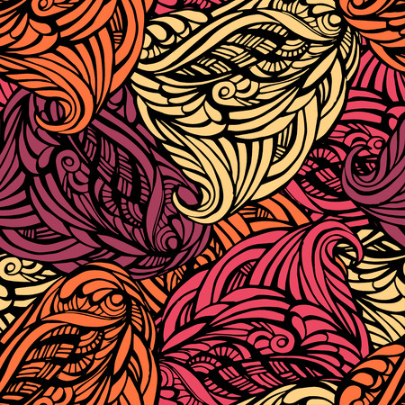 Abstract seamless pattern in warm tones with patterns of black lines Illustration