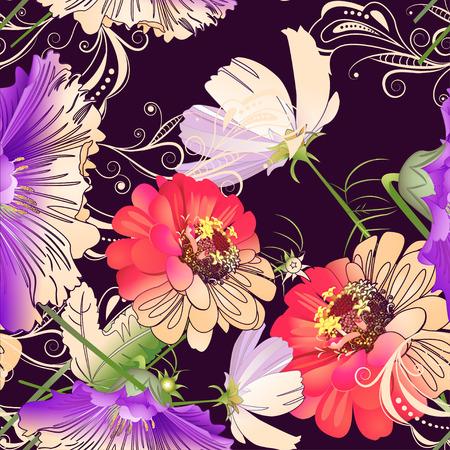 wild flowers: Seamless pattern of wild flowers and hollyhocks on a dark purple background Illustration