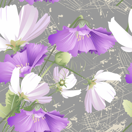 Seamless pattern of wild flowers and mallows on grey background