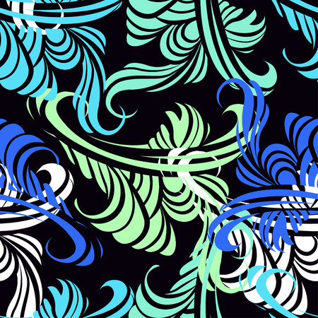 cool colors: Abstract floral seamless pattern in cool colors on a black background