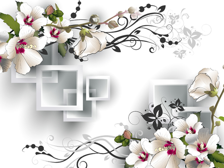 アオイ科の植物と白い背景の上の三次元の正方形のフレームの形で建築要素の花と装飾花の背景