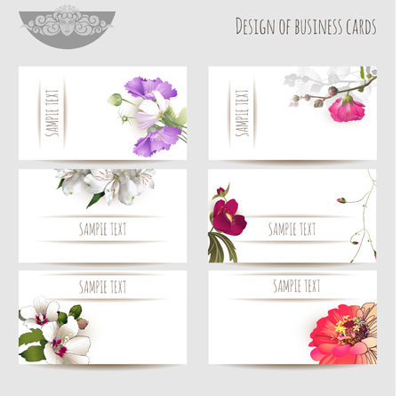 Design of business cards with floral elements and sample text, vector