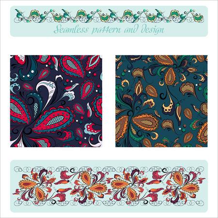 scrapbook background: Set of seamless decorative floral patterns on a dark background with design elements Illustration