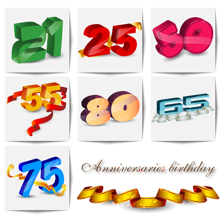 50 55 years: Birthdays and anniversaries with decorative elements and ribbons