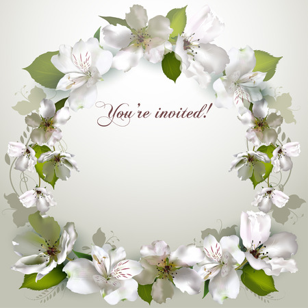 white flowers: invitation with delicate white flowers