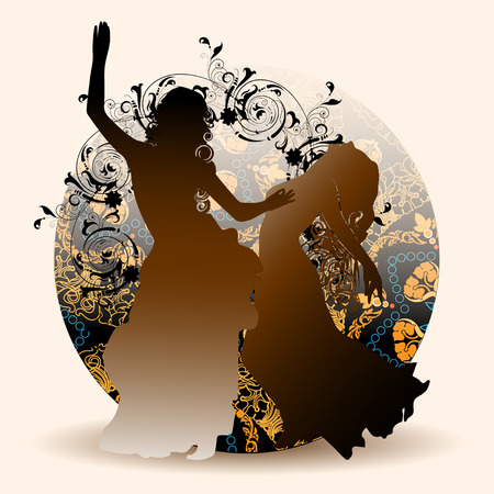 southern european descent: Silhouettes of oriental dance