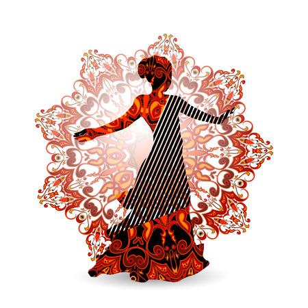 southern european descent: Oriental dance dancer in red