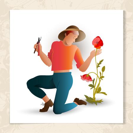 Gardener with garden shears.