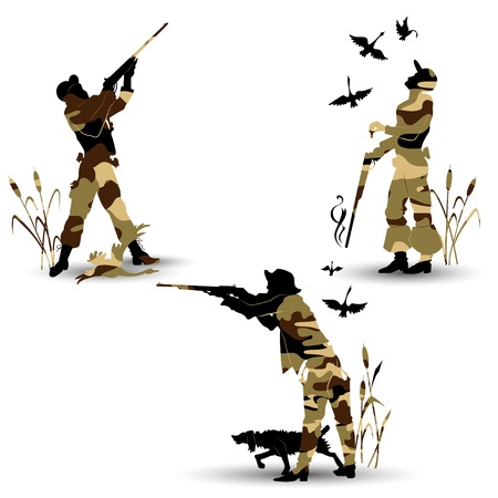 Silhouettes of game hunters. Stock Vector - 75569690