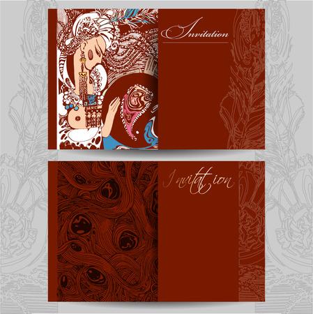 Modèle d'invitation dans le style oriental dans des couleurs chaudes, fait à la main Banque d'images - 83835759