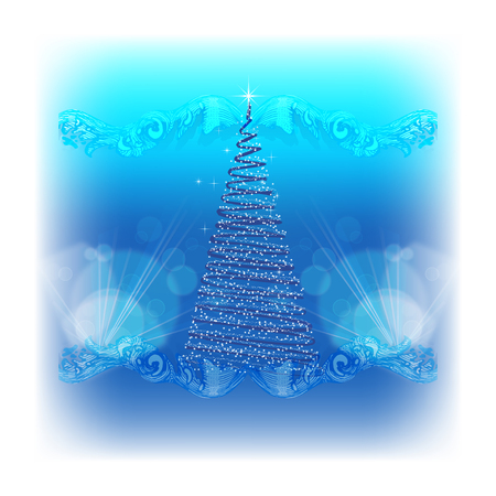 Christmas in blue tones with a Christmas tree.