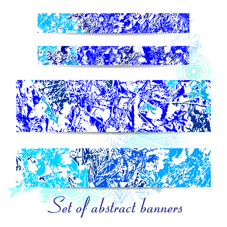 テクスチャのバナーセット冬の背景。異なる構成のスポット、青と白のベクトル