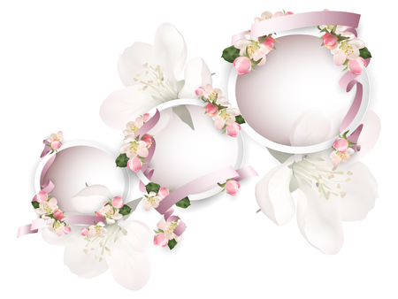 Apple blossoms with ribbons Illustration