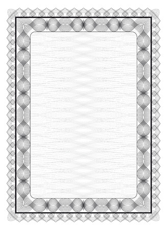 Rectangular frame with guilloche pattern in black and white Vector illustration. Vetores