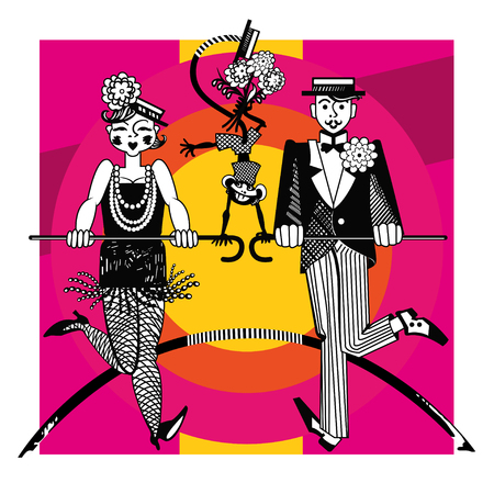 Couple dancing tap dance in black and white on a bright background with a monkey