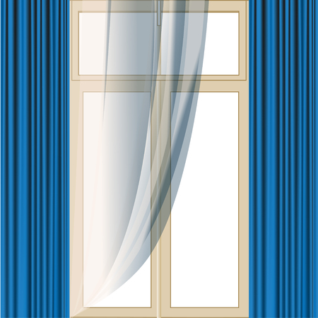 The window is decorated with a transparent tulle and a Blue portieres Stock Vector - 106143464