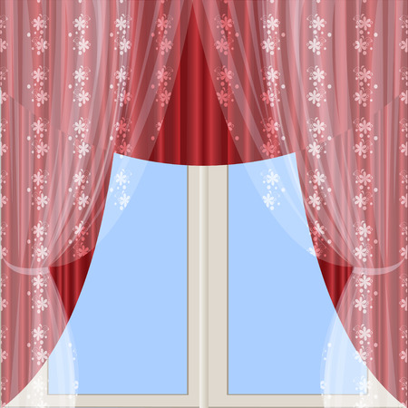 The window is decorated with a transparent tulle with a pattern and red curtains with lambrequin.