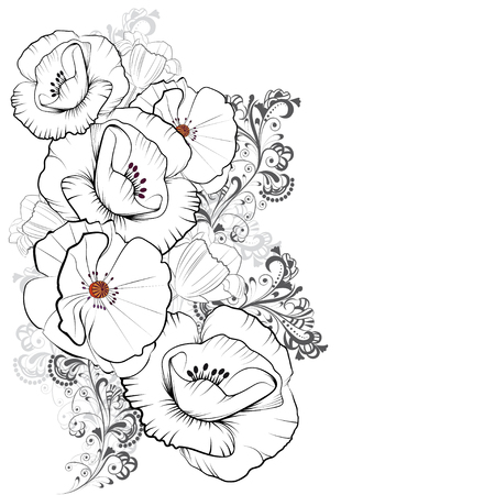 A bouquet of poppies in graphic style with a decorative pattern in Oriental style on a white background