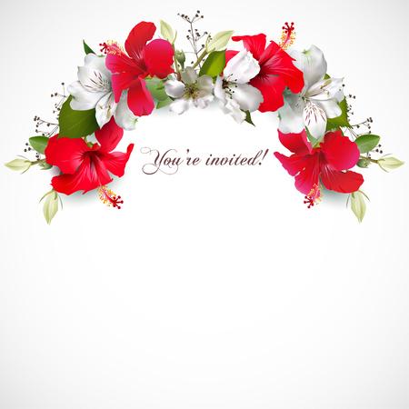 Invitación con hibisco Ilustración de vector