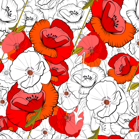 Seamless pattern of red poppies and poppies in graphic style on white background Illustration